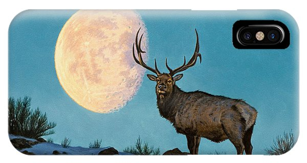 Bull iPhone Case - Setting Moon And Elk by Paul Krapf