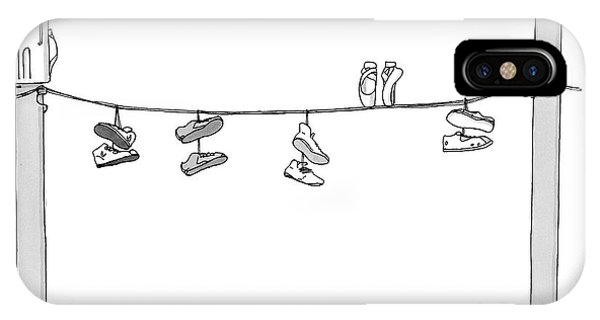 Dance iPhone Case - Several Pairs Of Shoes Dangle Over An Electrical by Charlie Hankin