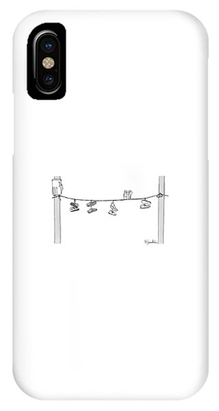 Several Pairs Of Shoes Dangle Over An Electrical IPhone Case