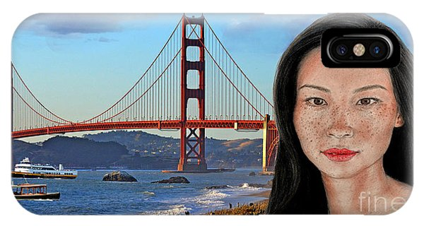 Leading Actress iPhone Case - Sexy Freckle Faced Beauty Lucy Liu Altered Version by Jim Fitzpatrick