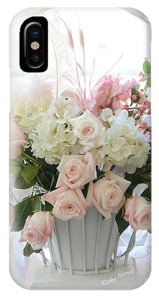 Shabby Chic Basket Of White Hydrangeas - Pink Roses - Dreamy Shabby Chic Floral Basket Of Roses IPhone Case
