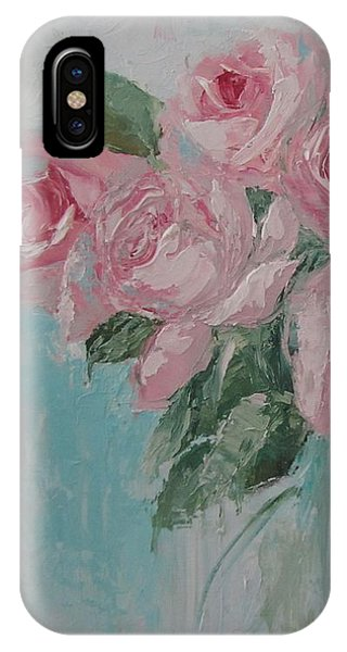Shabby Chic Pink Roses Oil Palette Knife Painting IPhone Case