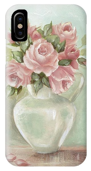 Shabby Chic Pink Roses Painting On Aqua Background IPhone Case