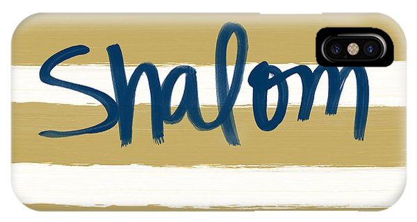 Peace iPhone Case - Shalom- Blue With Gold by Linda Woods