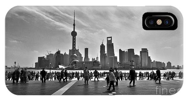 Shanghai Skyline Black And White IPhone Case