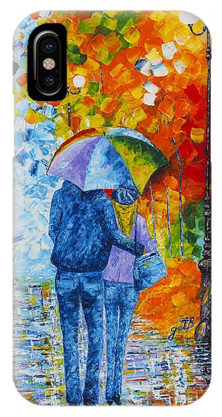 IPhone Case featuring the painting Sharing Love On A Rainy Evening Original Palette Knife Painting by Georgeta Blanaru