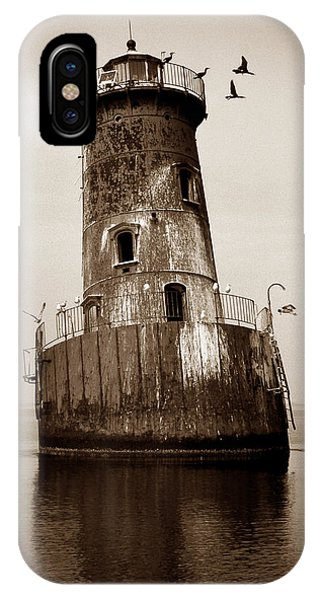 Lighthouse Wall Decor iPhone Case - Sharps Island Lighthouse by Skip Willits