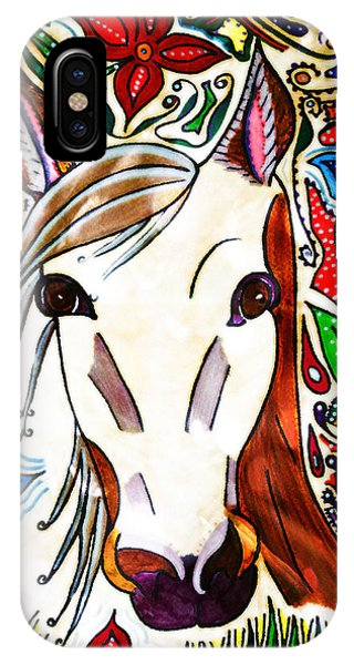 She Grazes Where Flowers Grow - Horse IPhone Case