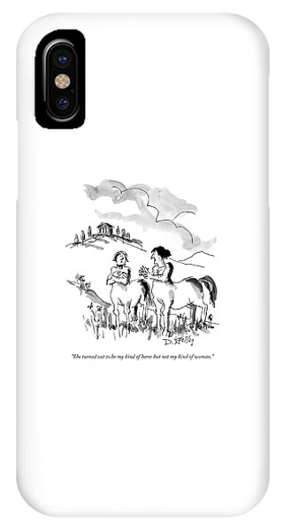 Centaur iPhone Case - She Turned Out To Be My Kind Of Horse But by Donald Reilly