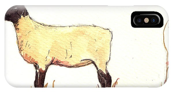 Farm iPhone Case - Sheep Black White by Juan  Bosco