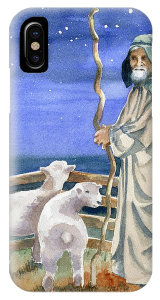 Sheep iPhone X / XS Case - Shepherds Watched Their Flocks By Night by Marsha Elliott