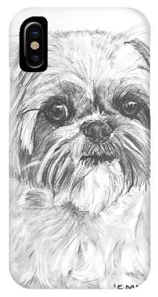 Shih Tzu Portrait In Charcoal IPhone Case