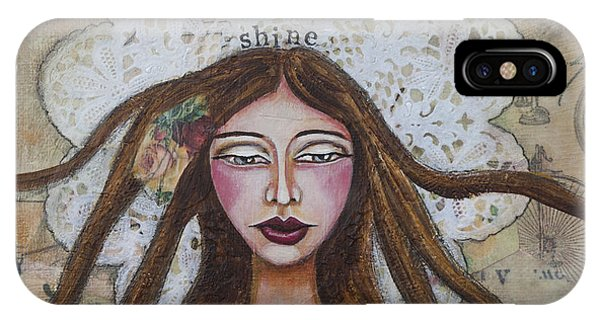 Shine Inspirational Mixed Media Folk Art IPhone Case