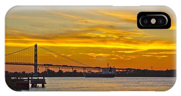Ship Approaches Ambassador Bridge At Sunset IPhone Case