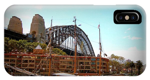 Ship Under Sydney Bridge Phone Case by John Potts