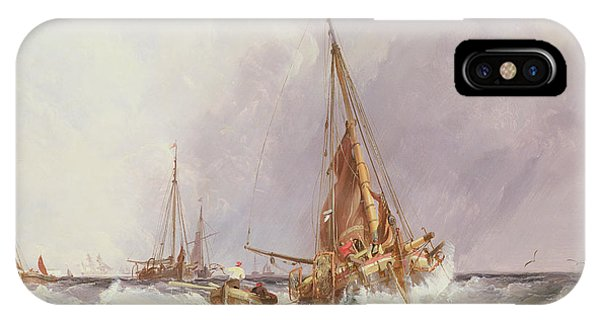 Ocean Breeze iPhone Case - Shipping In The Solent 19th Century by George the Elder Chambers