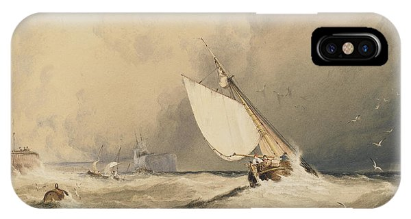 Ships At Sea Off Folkestone Harbour Storm Approaching IPhone Case