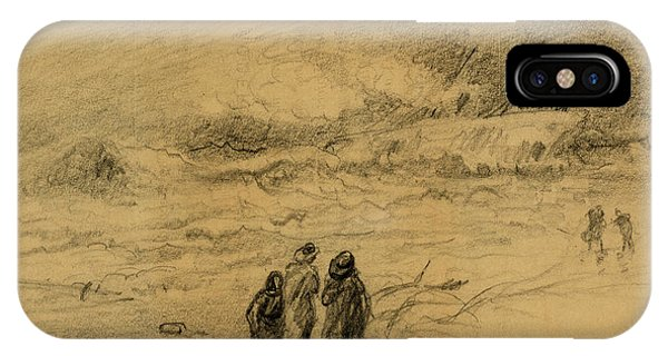 Shipwreck iPhone Case - Shipwreck In A Storm With Figures Looking On, 1860-1865 by Quint Lox