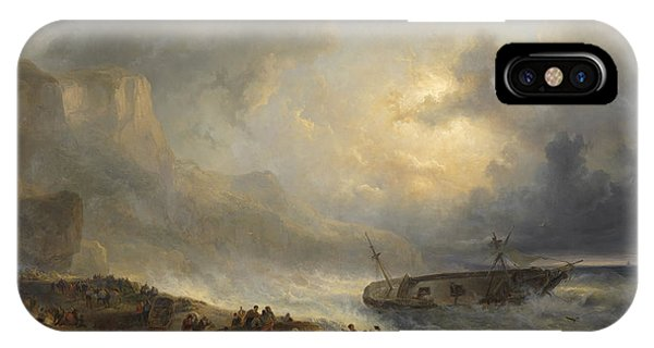 Shipwreck iPhone Case - Shipwreck Off A Rocky Coast, Wijnand Nuijen by Litz Collection