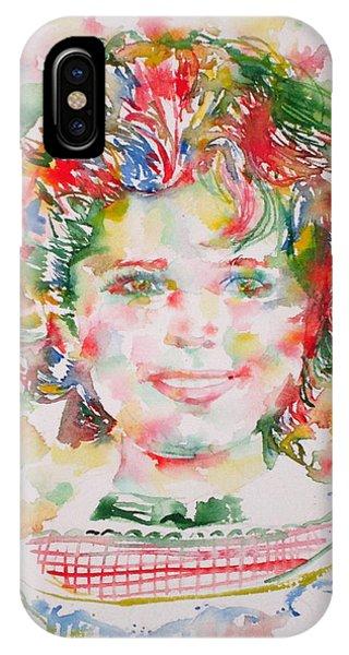 Shirley Temple - Watercolor Portrait.1 IPhone Case