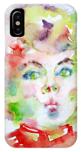 Shirley Temple - Watercolor Portrait.2 IPhone Case