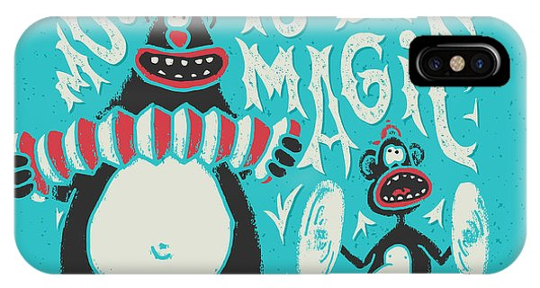 Humor iPhone Case - Shirt Print With Band Of Circus Monkey by Gleb Guralnyk
