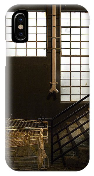 Window Shopping iPhone Case - Shopping Cart Stairs At Window by Peter Tellone