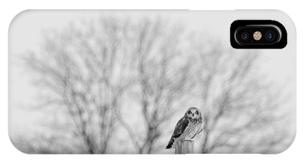 Short-eared Owl In Black And White IPhone Case