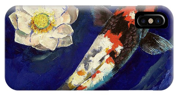 Fare iPhone Case - Showa Koi And Lotus Flower by Michael Creese