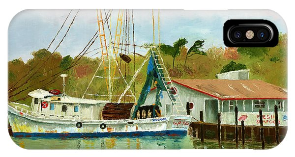 Shrimp Boat At Dock IPhone Case