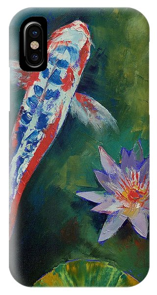 Fare iPhone Case - Shusui Koi And Water Lily by Michael Creese
