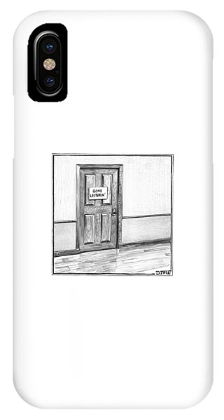 Shut Door In A Hallway With A Sign That Read Gone IPhone Case