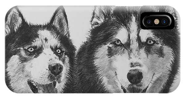 Siberian Husky Dogs Sketched In Charcoal IPhone Case