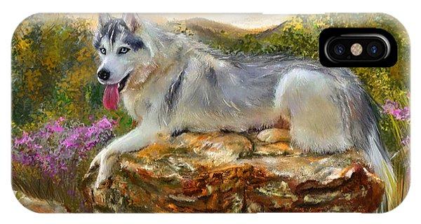 Siberian Leisure - Siberian Husky Painting IPhone Case
