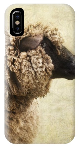 Sheep iPhone Case - Side Face Of A Sheep by Priska Wettstein