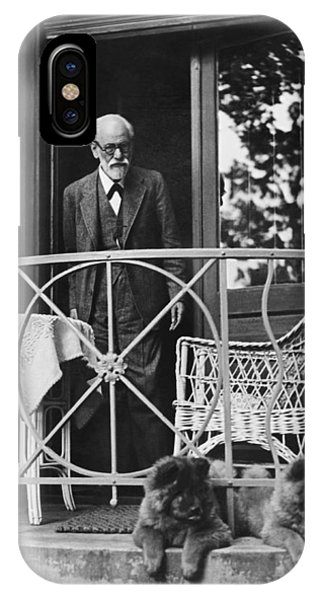 Moustache iPhone Case - Sigmund Freud With His Chows by Underwood Archives