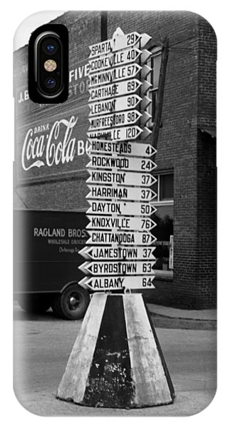 Crossville iPhone X Case - Sign Post In Crossville Tennessee 1939 by Mountain Dreams