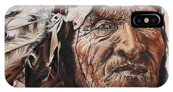 Native American Spirit Portrait iPhone Case - Signs Of His Times by Annalise Kucan