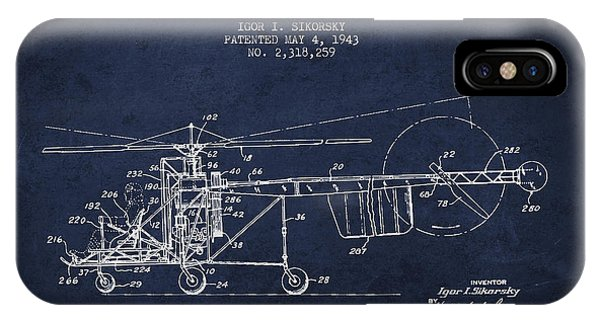 Helicopter iPhone X Case - Sikorsky Helicopter Patent Drawing From 1943 by Aged Pixel