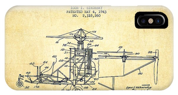 Helicopter iPhone X Case - Sikorsky Helicopter Patent Drawing From 1943-vintage by Aged Pixel