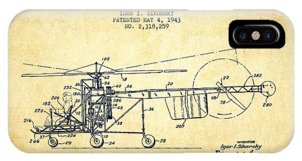 Helicopter iPhone Case - Sikorsky Helicopter Patent Drawing From 1943-vintgae by Aged Pixel