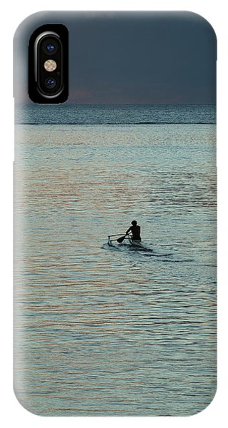 Jet Ski iPhone Case - Silhouette Of A Person Driving Jet Ski by Panoramic Images