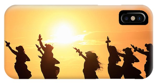 Hawaii iPhone Case - Silhouette Of Hula Dancers At Sunrise by Panoramic Images