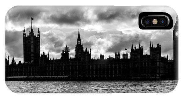 Silhouette Of  Palace Of Westminster And The Big Ben IPhone Case