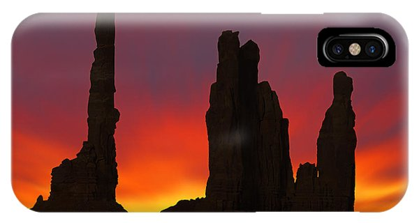 Silhouette Of Totem Pole After Sunset - Monument Valley IPhone Case