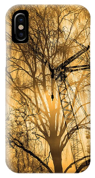 Silhouette Of Trees And Crane IPhone Case