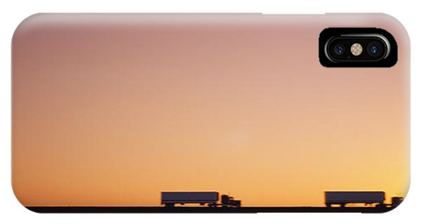 Trucking iPhone Case - Silhouette Of Two Trucks Moving by Panoramic Images
