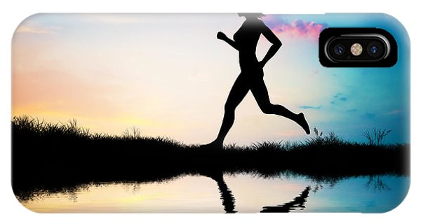 Silhouette Of Woman Running At Sunset IPhone Case