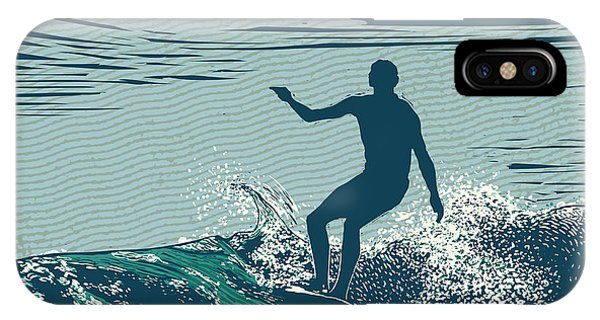Vector iPhone Case - Silhouette Surfer And Big Wave by Jumpingsack