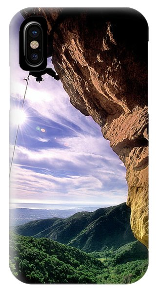Barbara Steele iPhone Case - Silhouetted Climber Rapelling by Kevin Steele